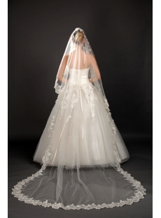 Romantic Cathedral Wedding Veils with Lace Trim