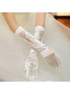 Romantic Ivory Elbow Wedding Gloves