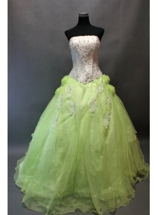 Romantic White and Green Ball Gown Quinceanera Dress