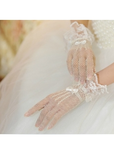 Short Fishnet Lace Wedding Gloves