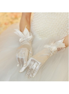 Short Lace Fingertips Gloves Wedding