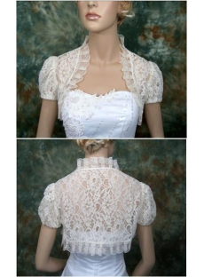 Short Puffed Sleeves Lace Wedding Jacket