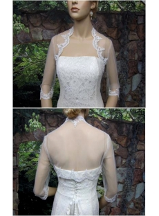 Simple 3/4 Long Sleeves Short Wedding Jacket