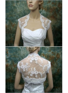 Simple Cap Sleeves Lace Wedding Bolero