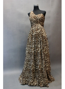 Simple One Shoulder Leopard Chiffon One Shoulder Plus Size Evening Dress