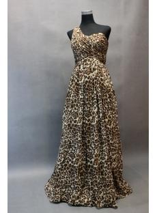 Simple One Shoulder Leopard Chiffon One Shoulder Plus Size Evening Dress