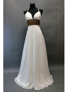 Spaghetti Straps Casual Wedding Dresses for the Beach with Sash