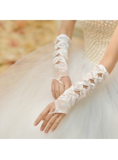 Unique Fingerless Bowed Wedding Gloves