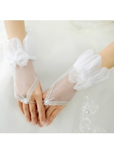 Unique Organza Short Wedding Gloves