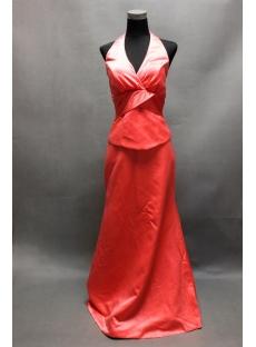 Watermelon Halter Mock Two-Piece Bridesmaid Dress