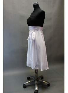 White and Black Knee Length Junior Graduation Dress with Sash