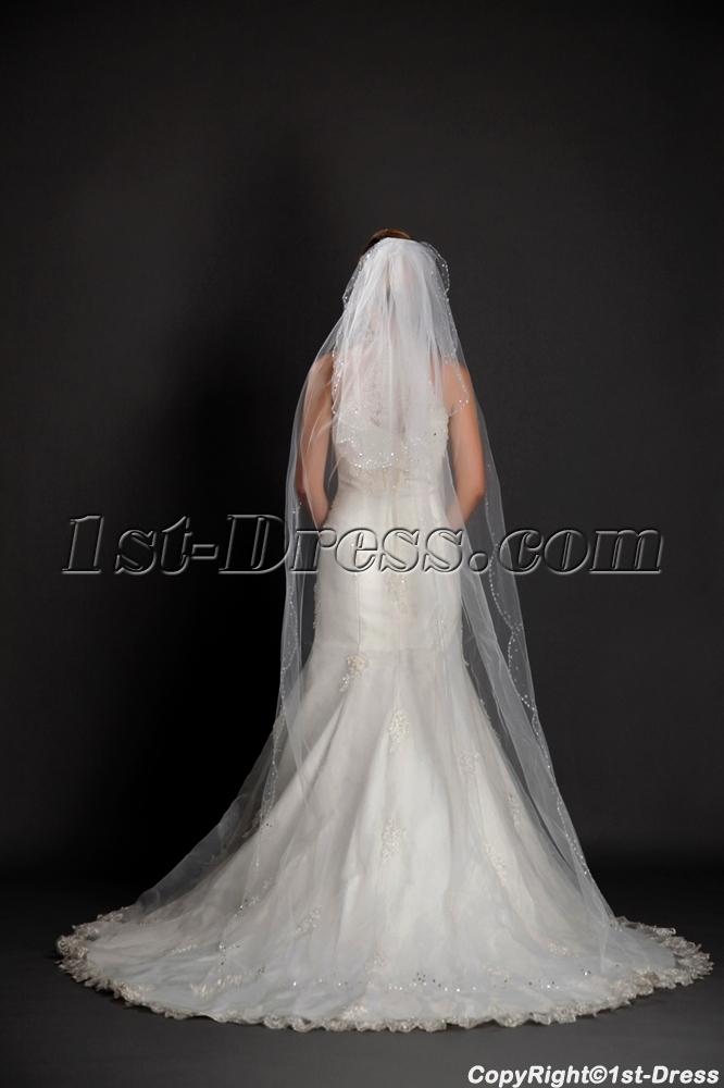 Fashionable 2 Layered Beaded Edging Cathedral Wedding Veils1st Dress