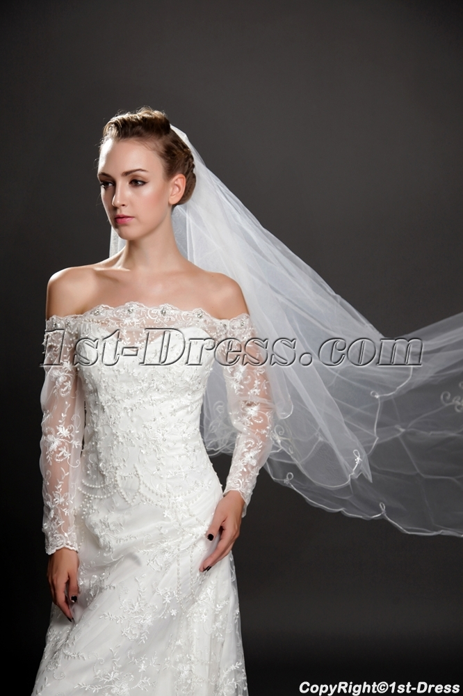 Romantic 2 layers long organza wedding veil 1st for Long veil wedding dresses
