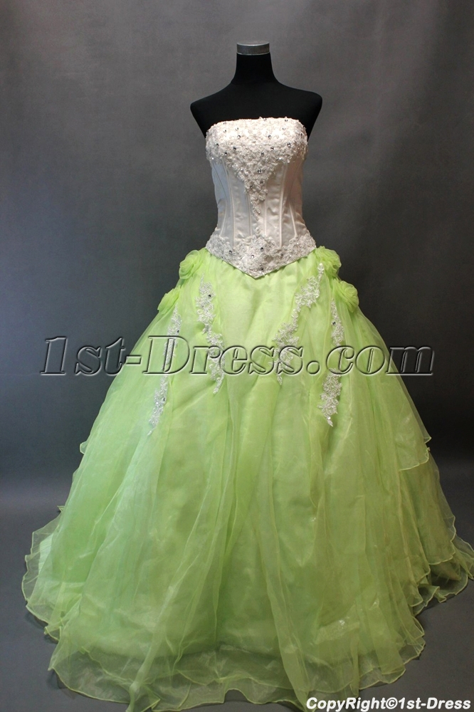Romantic White and Green Ball Gown Quinceanera Dress:1st-dress.com