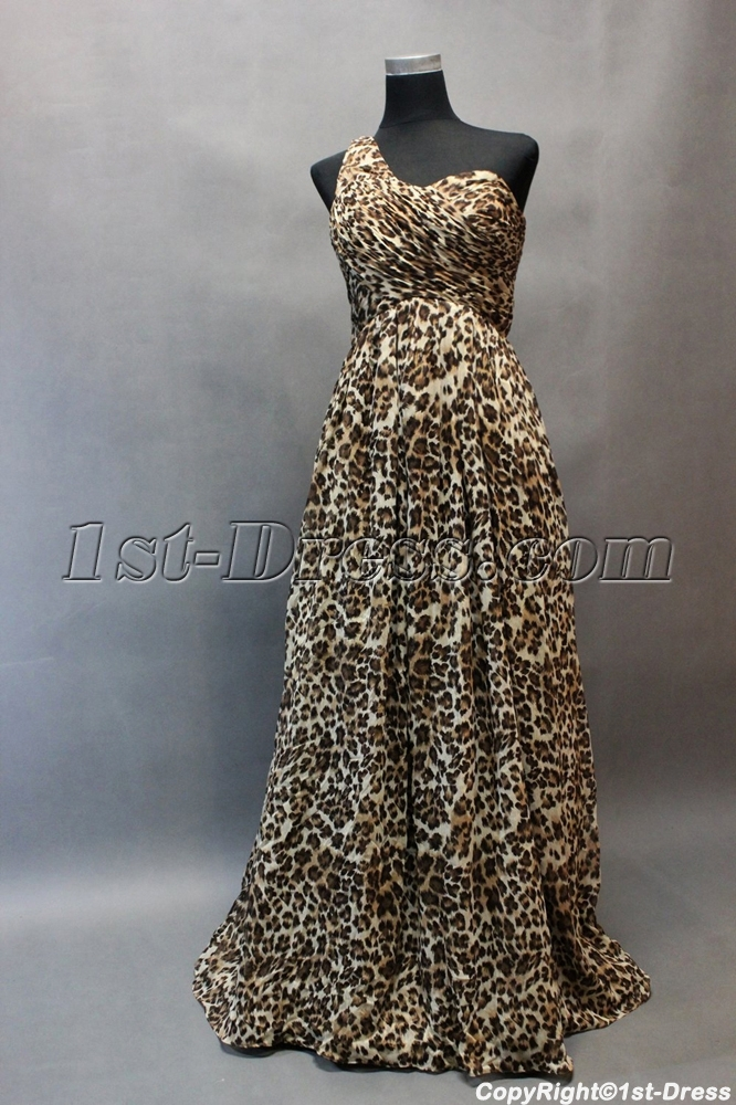 Simple One Shoulder Leopard Chiffon One Shoulder Plus Size Evening ...
