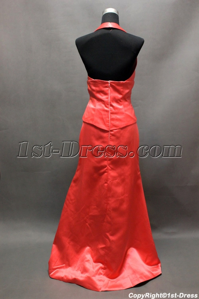 Watermelon Halter Mock Two-Piece Bridesmaid Dress 1st-dress.com 85d68beb4f02