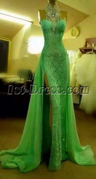 Jeweled Halter Green Lace Evening Dress