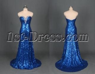 Royal Blue Sequins Evening Dress 2014