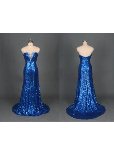 Royal Blue Sequins Evening Dress 2014