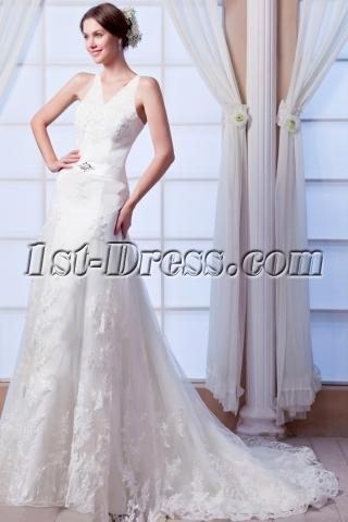 Best V-neckline Lace Wedding Dress 2015