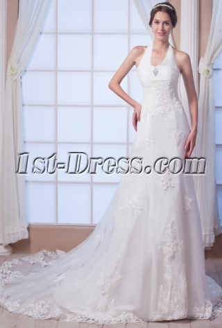 Perfect Halter Lace Bridal Gown 2015