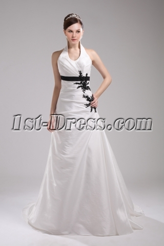 Simple Halter White with Black Appliques Wedding Dress 2015