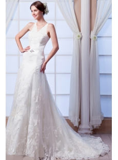 Best V-neckline Lace Wedding Dress 2015