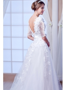 Modest 1/2 Long Sleeves Lace Wedding Dress 2015 Spring