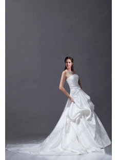 Simple White Satin 2015 Bridal Gown with Train
