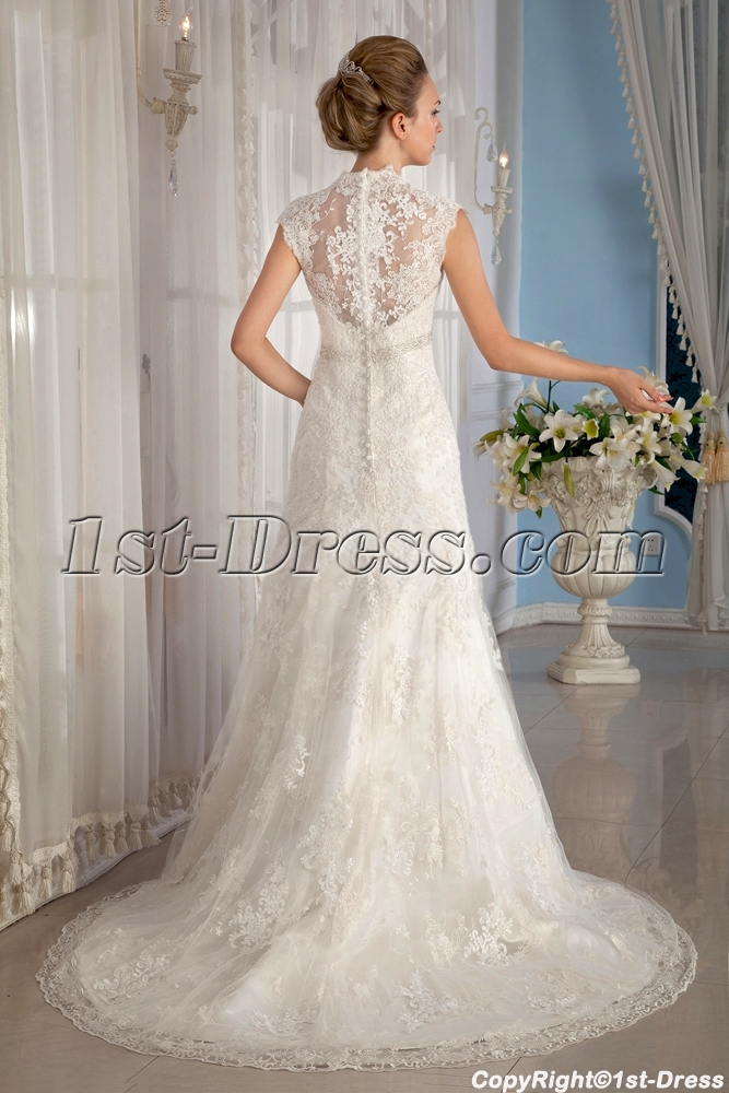 Lace Wedding Gowns With Cap Sleeves : Cap sleeves lace wedding dresses fall st dress