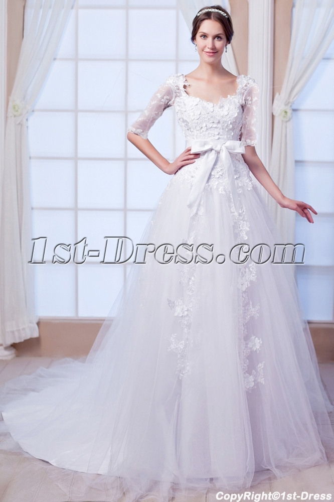 Modest 1 2 Long Sleeves Lace Wedding Dress 2015 Spring1st Dress