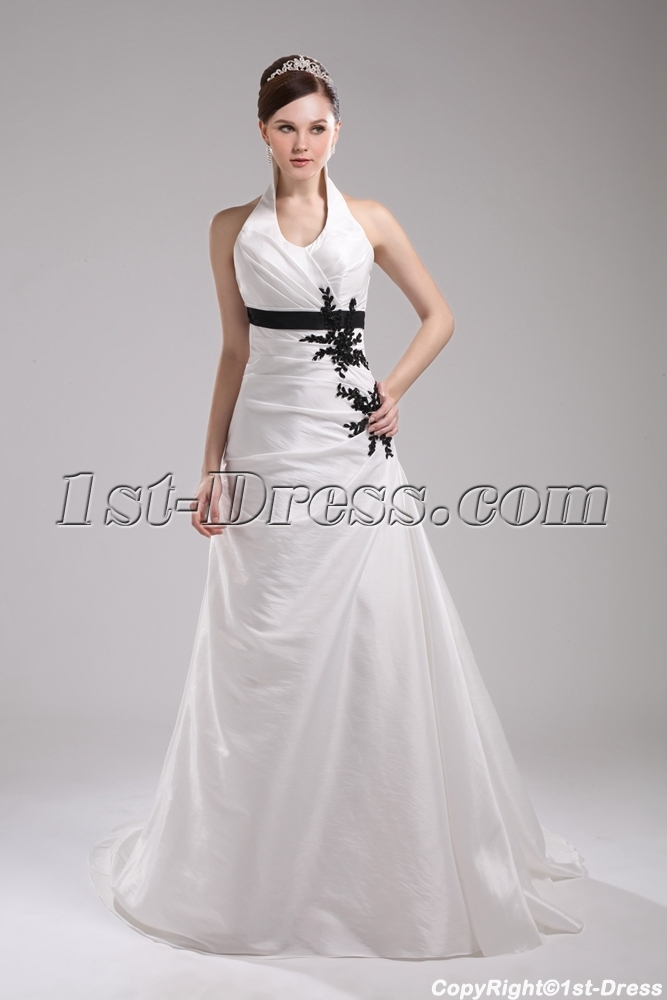 simple halter white with black appliques wedding dress