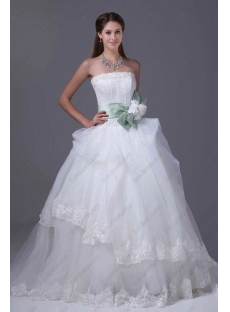 Sweet 2015 Ball Gown Wedding Dress with Flowers