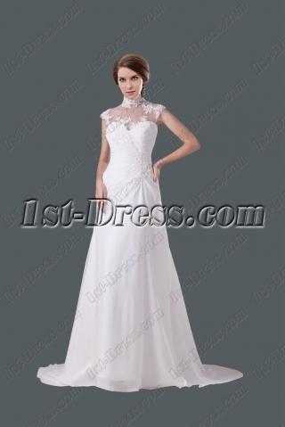 Modest High Neckline A-line Wedding Gown