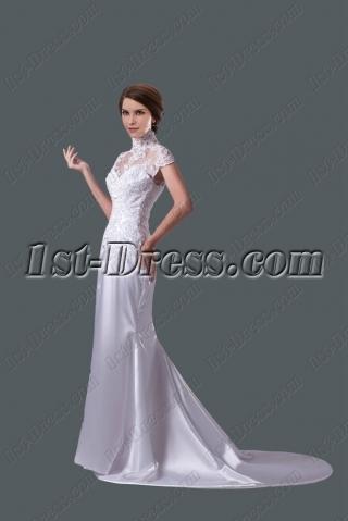 Romantic Sheath Lace Wedding Dress with Cap Sleeves