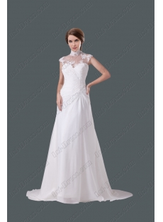 Modest High Neckline A-line Wedding Gown