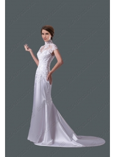 Romantic Sheath Lace Wedding Dress with Cap Sleeves