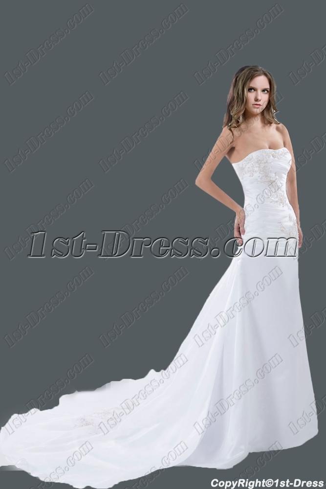 Elegant White Strapless A-line Wedding Dress 2015:1st-dress.com