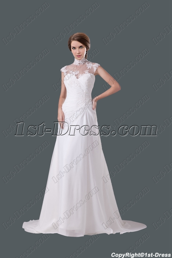 Modest high neckline a line wedding gown 1st for Modest a line wedding dresses