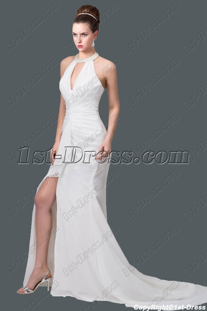 Sexy halter beach bridal gown 2015 1st for Halter wedding dresses with color