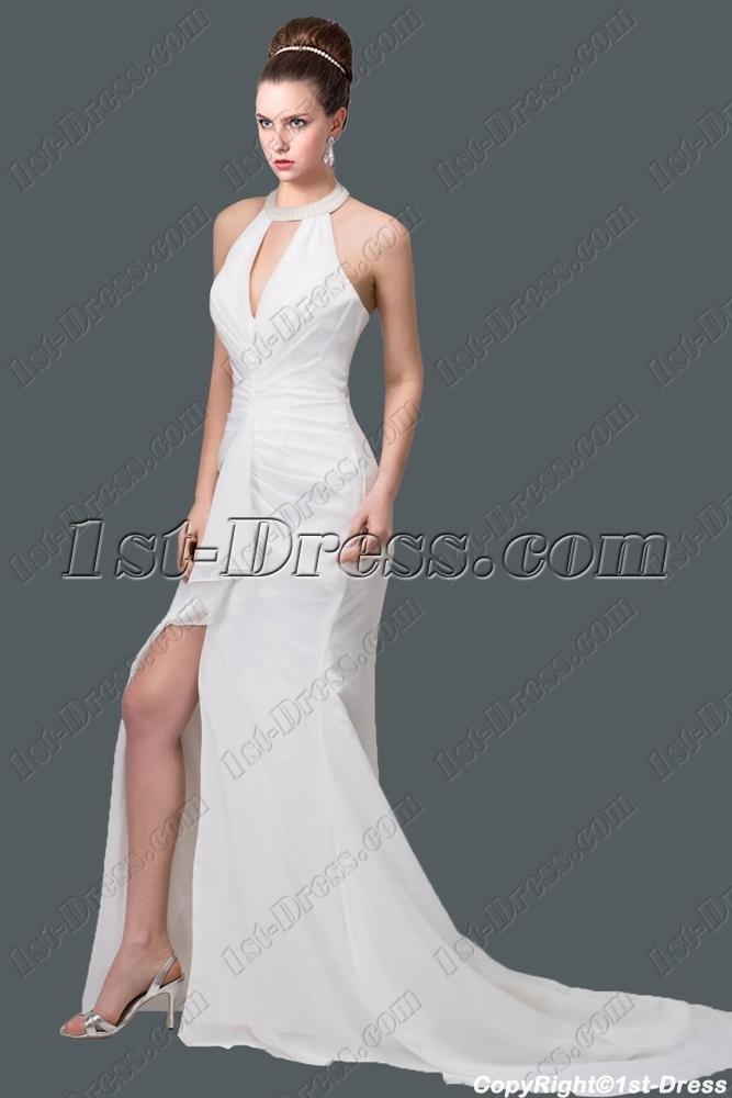 Sexy halter beach bridal gown 2015 1st for Halter wedding dresses beach