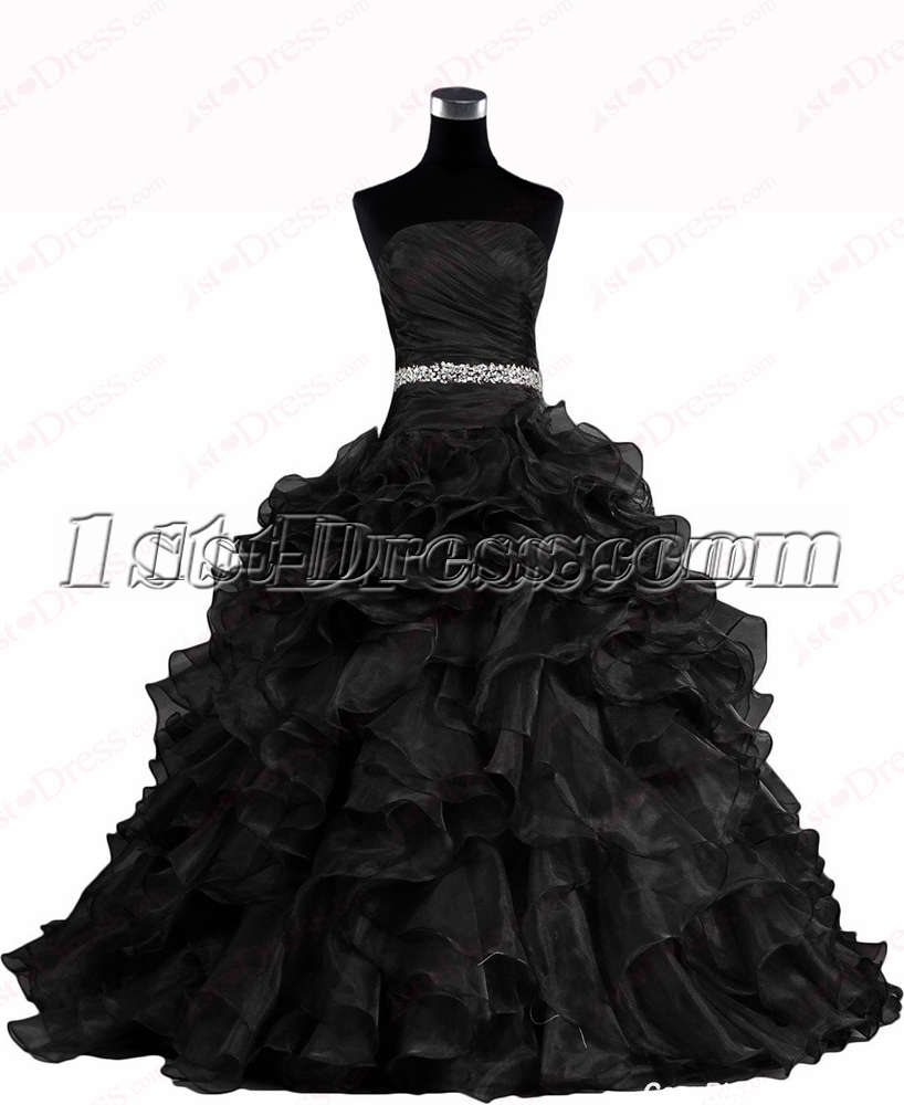 black ball gown wedding dress