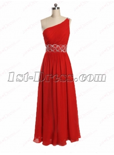 Best Red One Shoulder Long Celebrity Dress