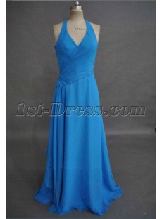 Simple Blue Halter Chiffon Plus Size Prom Gown