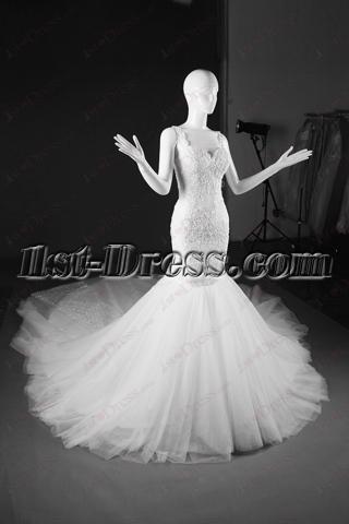 2016 Backless Mermaid Lace Wedding Dress