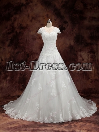 2016 Lace Wedding Dresses with Sleeves Plus Size