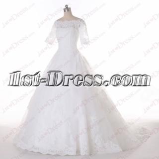2016 Modest Short Lace Sleeves Wedding Dress
