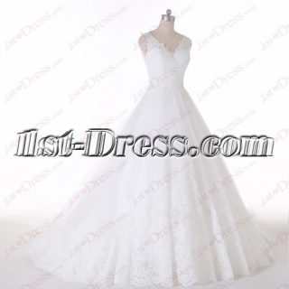 2016 V-neckline Plus Size Wedding Dress