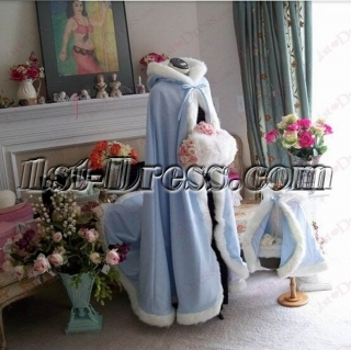Blue Winter Wedding Cape Coat