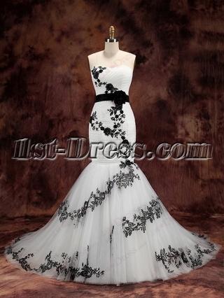 Charming White and Black Mermaid Wedding Dress